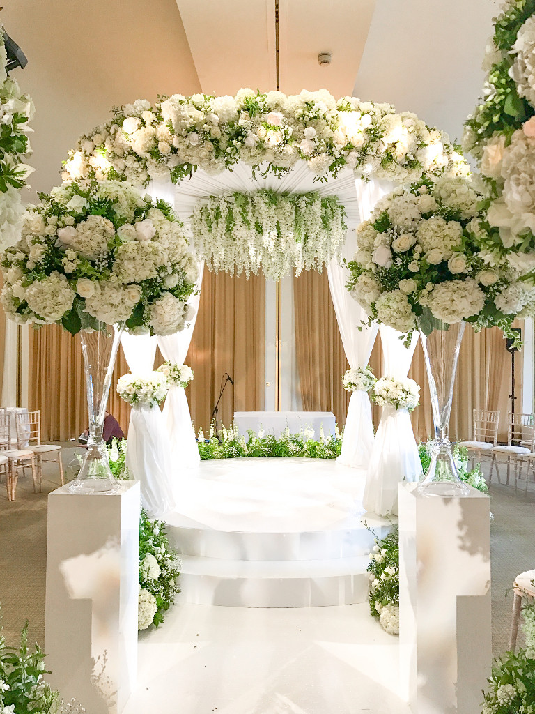 Chuppah of White Flowers for a Wedding at The Grove Hotel